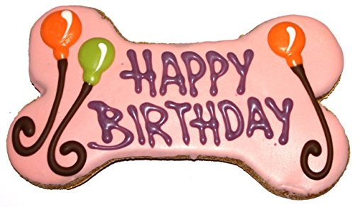 Pawsitively Gourmet 6 Inch HAPPY BIRTHDAY Bone Pink Cookies for Dogs, Bulk