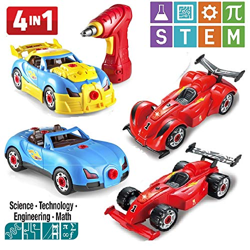 (Prextex 4 in 1 Build Your Own Racer Car Set STEM Toy with Real Working Drill and Screws 53 Piece Take-A-Part Toy for Boys and Girls with Lights and)