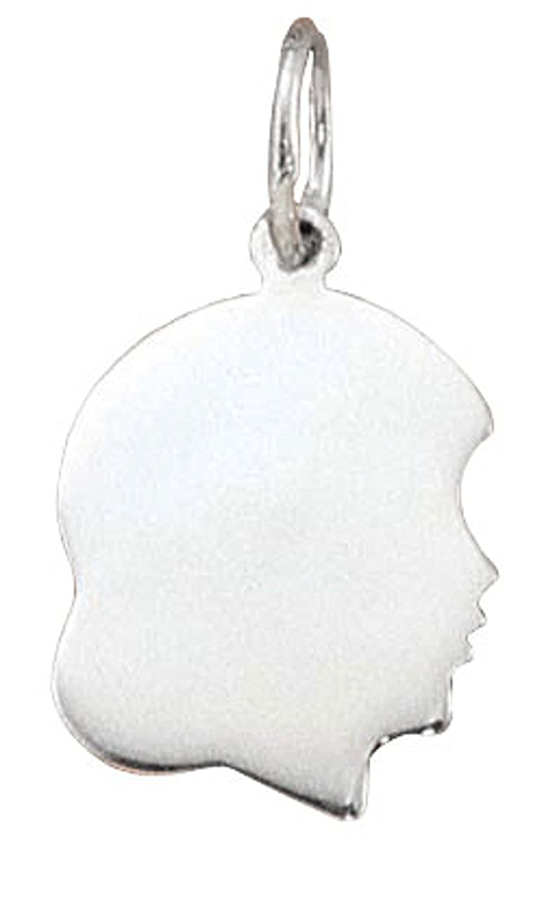 Sterling Silver Girls .8mm Box Chain Large Engraveable Girl Profile Pendant Necklace