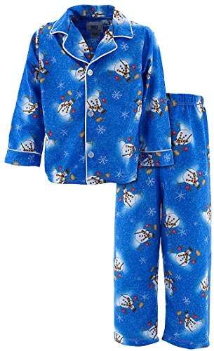 Blue Coat Style Pajamas - Blue Snowman Classic Christmas Coat-Style Pajamas for Baby Boys 12Months