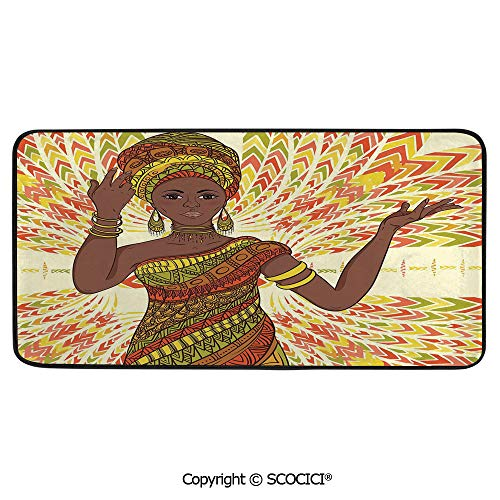 Rectangle Rugs for Bedside Fall Safety, Picnic, Art Project, Play Time, Crafts, Large Protective Mat, Thick Carpet,African Woman,Dancing Woman Hand Drawing Ethnic Geometric Ornament,39