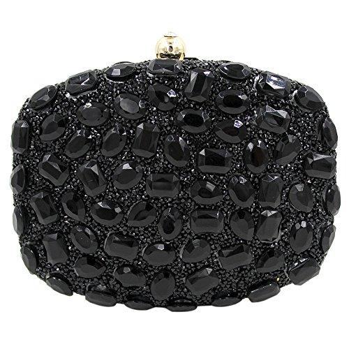 Onfashion Bolsos Mujeres Coloridos Diamantes de Imitación Diseño Bolso de Mano por Noche Monedero de Boda Bolsos de Embrague Billetera Bolso de Cosméticos negro