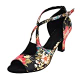 HXYOO Latin Dance Shoes Women Indoor Floral Satin WK0166(7.5, 2.5'' Heel-Black)