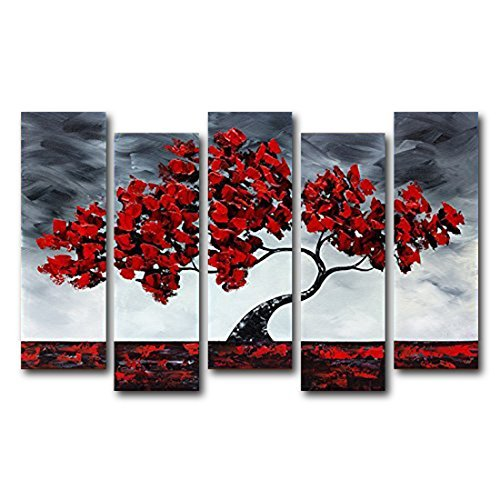 vasting-art-5-panel-100-hand-painted-oil-paintings-landscape-plant-red-tree-modern-abstract-contempo