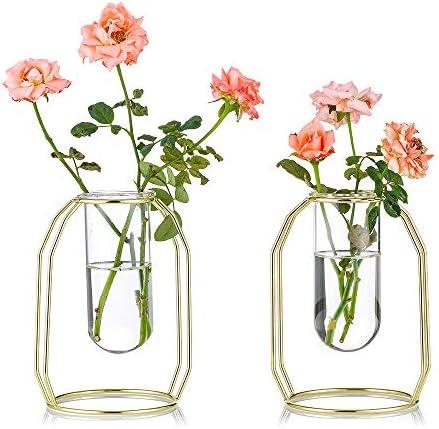 2 Vasi di Fiori con Cornice d'Arte in Ferro, Vaso Geometrico, Vaso Centrale Centrotavola, Supporto da Tavolo per Piante da Tavolo per Arredamento da Tavolo da Ufficio, Oro(2 x Piccolo)
