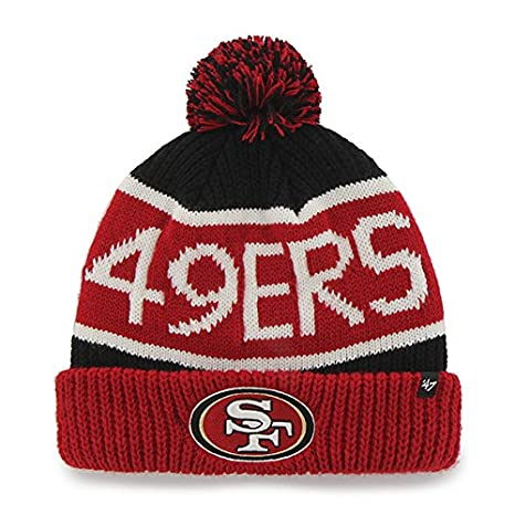 new arrival ab077 47b50 Image Unavailable. Image not available for. Color  San Francisco 49ers Red  Cuff  quot Calgary quot  Beanie Hat with Pom - NFL SF