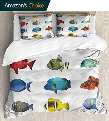 VROSELV-HOME Cotton Bedding Sets,Box Stitched,Soft,Breathable,Hypoallergenic,Fade Resistant Breathable Lightweight Soft 2 Pieces Duvet Cover-Fish Tropical Angelfish Clownfish (90