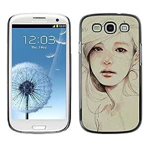 Caucho caso de Shell duro de la cubierta de accesorios de protección BY RAYDREAMMM - Samsung Galaxy S3 I9300 - Painting Sad Depression Woman