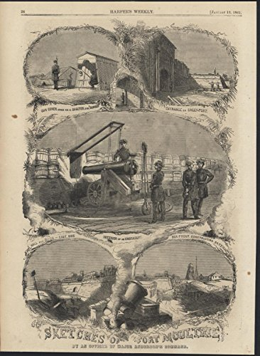 Fort Moultrie Cannon Gun Cover Sally-Port 1861 antique wood engraved print