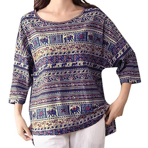 - Realdo Clearance Sale!Fashion Women Print Top Vintage Ethnic 3/4 Sleeve Round Neck Blouse(Large,Blue)