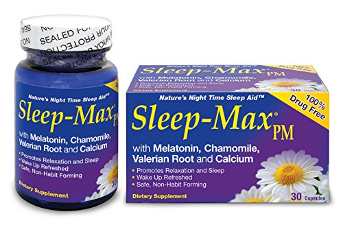 Sleep-Max PM Sleep Aid, Non-Habit Forming, Wake Up Refreshed, Made with Melatonin, Chamomile, Valerian Root and Calcium, Safe, Promotes Relaxation and Sleep, Nature