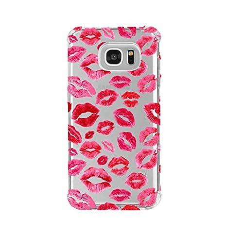 Samsung s7 shock absorption case, lips prints pattern Design - Lip Cell Phone Case
