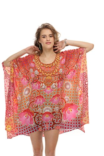 D G PRINTS FAB Women's Kaftan Short Beachwear Swimwear Bikini Cover UPS Beach Dress (DG 50)