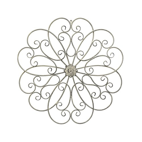 "Three Hands 31.5"" Metal Scroll Wall Art in White"