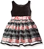 Zunie Little Girls' Dress Sleeveless Velvet Bodice Striped Organza Skirt, Black/Pink, 3T