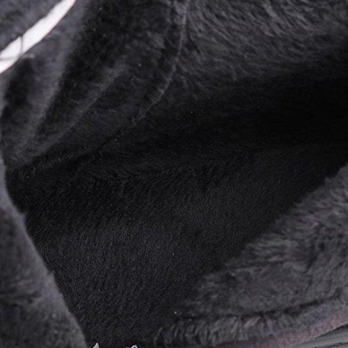 Aiyoumei Donna Solido Moda Pizzo Cerniera Laterale Appartamenti Autunno Inverno Nero Sopra Il Ginocchio Stivali Neri