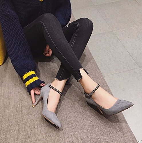 Diamond MDRW Heels Single Shoe Pointed 9Cm Lady Shoes Mouth Fashion Work Leisure Fine Blue A 34 High Spring Ladies Shallow With Elegant Buckle 4Rrxq4