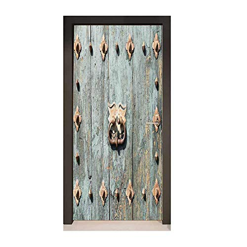 Rustic 3D Door Decal European Cathedral with Rusty Old Door Knocker Gothic Medieval Times Spanish Style for Living Room Decoration Turquoise,W23xH70