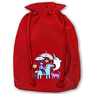 Unicorns Everywhere Red Velvet Drawstring Wedding Party Favors Bags For Christmas Wedding Gifts