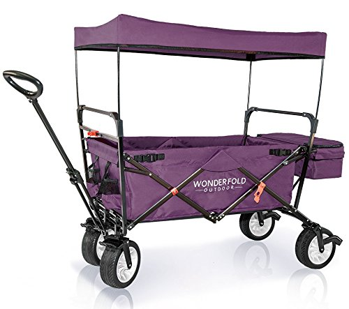Wonder Wagon - WonderFold Outdoor High-End NEW GENERATION Outdoor Utility Collapsible Folding Wagon with Canopy, Auto Locks, Spring Bounce, Brake, Stand, EVA Wide Tire (Purple)