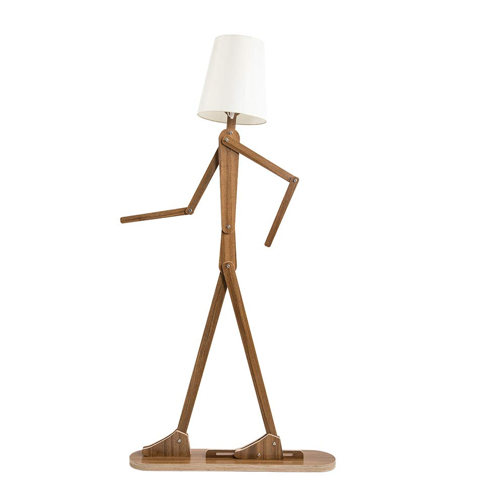 HROOME Modern Contemporary Decorative Wooden Floor Lamp Light with Fold White Fabric Shade Adjustable Height Standing Light for Living Room Bedroom Office 160cm Unique Design DIY Man Lamps (Walnut)