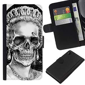 KLONGSHOP // Tirón de la caja Cartera de cuero con ranuras para tarjetas - Dios reina Corona Cráneo Muerte Inglaterra - Sony Xperia Z2 D6502 //