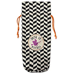 "DII Cotton Halloween Reusable Drawstring Gift Bag, 6""(W) x 14""(H) x 4""(Dia), Set of 2 for Wine, Beverages, Gifts, Holiday Party Accessory-All Hallows Eve"