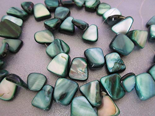 - Green Mother of Pearl Shell Top Drilled Nuggets Beads 44pcs #ID-70