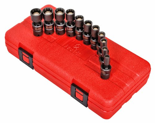 Sunex 1825 1/4-Inch Drive Universal Magnetic Impact Socket Set, Metric, 12-Point, Cr-Mo, 5mm - 15mm, 11-Piece by Sunex