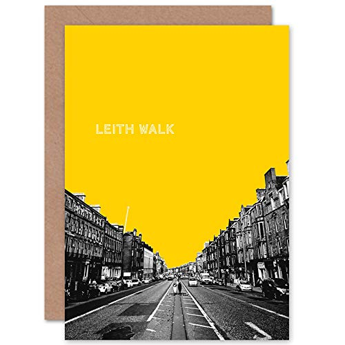 Wee Blue Coo Edinburgh Leith Walk Yellow Greetings Card