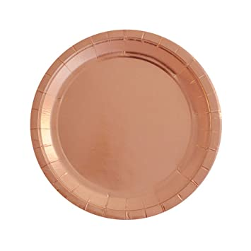 SOCOSY Rose Gold Round Paper Plates Disposable Plates Paper Dessert Snack Plate for Party Birthday Wedding  sc 1 st  Amazon.com & Amazon.com: SOCOSY Rose Gold Round Paper Plates Disposable Plates ...