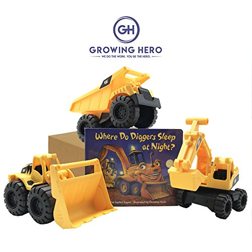 CAT Toy Trucks & Where Do Diggers Sleep At Night? Book Set by Growing (Girls Do Toys)