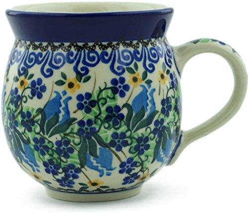- Polish Pottery 11 oz Bubble Mug made by Ceramika Artystyczna (Midnight Rose Bud Theme) Signature UNIKAT + Certificate of Authenticity