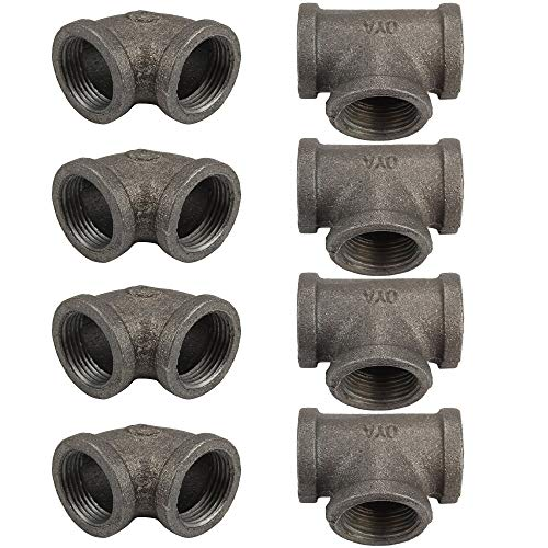 Gimiton Black Cast Pipe Fitting Set, 4Pack 3/4