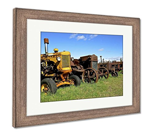 Clutch Ashley (Ashley Framed Prints A Row of Old Rusty Worn Tractors Stand in A Row Bringing Back Old Farming, Wall Art Home Decoration, Color, 34x40 (Frame Size), Rustic Barn Wood Frame, AG6460897)