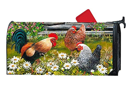 Rooster Hen Garden Spring Personalized Custom Mailbox Cover Magnetic, Garden Outdoor Vinyl Decorative Mailbox Wrap for Standard 6.5 x 19 Inches Mailbox