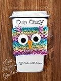 owl coffee cup cozy - Rainbow Owl Coffee Cup Cozy Crochet Drink Sleeve Bright Owl Cozy