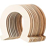 Gejoy 48 Pack Wood Horseshoe Cutouts Unfinished Wooden Horseshoe Discs Slices Decoration for DIY Craft, Wedding, Party and Birthday