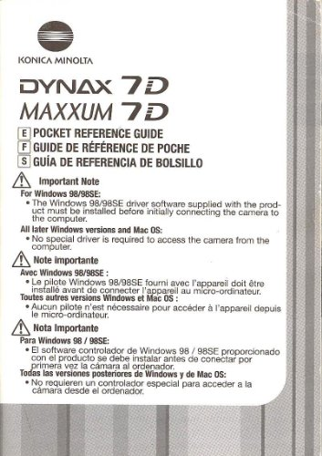 Konica Minolta Maxxum 7D/Konica Minolta Dynax 7D Original Pocket Reference Guide - Multi Language ()