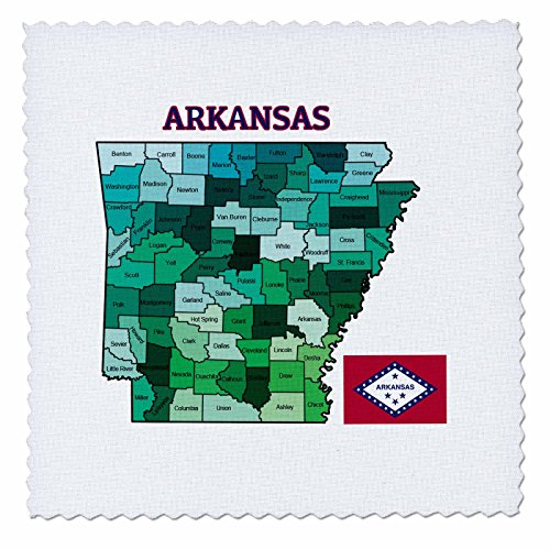 3dRose Map and Flag of The State of Arkansas with All Counties Colored. - Quilt Square, 6 by 6-Inch (qs_172007_2) (Quilts Arkansas)