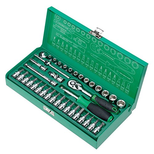 Pro39;skit SK-23801M 1/4 inch 38-Piece Sleeve Tool Set For Automotive Repair Wrench Bicycle Repair Tools Kit Hand Tool Set by Unknown