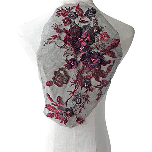 Blossom 3D Flower Applique, Beaded Sequins Flower LACE Patch Bridal Wedding Dress Embossed Beading Embroidery lace Appliques Motif Sewing Craft (Burgundy)