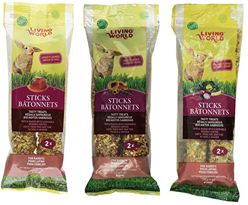 (Living World Rabbit Treat Sticks - Variety Pack of 6 (2-Honey Sticks, 2-Fruit Sticks, and 2-Vegetable Sticks))