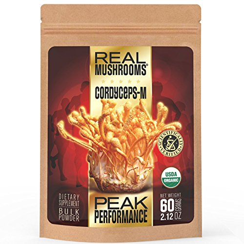 Price comparison product image Cordyceps Mushroom Extract Powder by Real Mushrooms - Certified Organic - 60g Bulk Cordyceps Mushroom Powder - Perfomance - Recovery - All-Day Energy - Perfect for Shakes,  Smoothies,  Coffee and Tea
