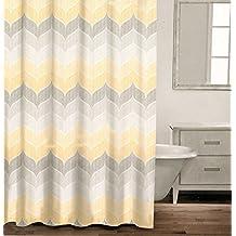 Caro Home 100% Cotton Shower Curtain Wide Stripes Chevron Fabric Shower Curtain Zig Zag White Taupe Grey Beige Gray Tweed Herringbone Design (Yellow)