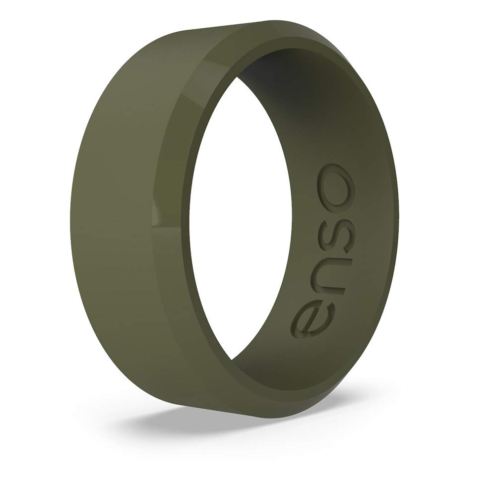 Enso Rings Bevel Classic Silicone Ring The Premium Fashion Forward Silicone Ring Lifetime Quality Guarantee Comfortable Breathable and Safe Pine, 10