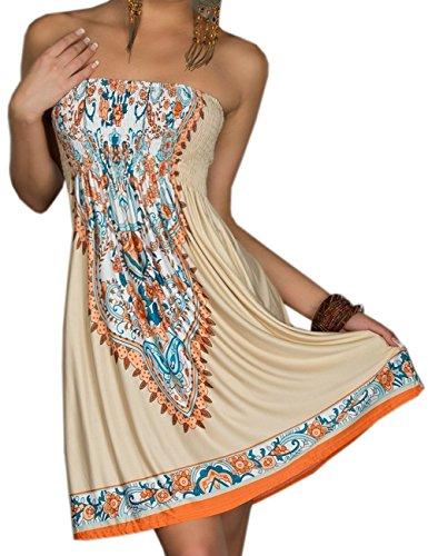 (Sexyshine Women's Strapless Baroque Floral Printed Beach Dress Tube Beachwear Cover-up(KH,2XL) Khaki)