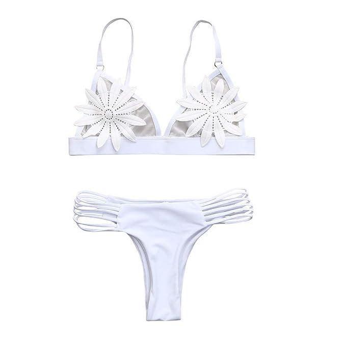 Bestow Damas Flor Sexy Bikini Dividir Traje de baño Conjunto Mujeres Push-up Sujetador con