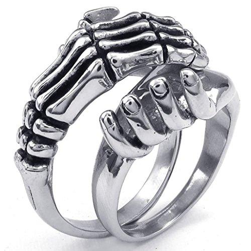 [Aomily Jewelry, Mens Wedding Finger Rings Stainless Steel Silver Skull Skeleton Skeleton Hand Size] (King Triton Costume For Kids)