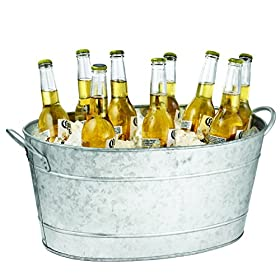 Tablecraft Galvanized Oval Beverage Tub, 5.5 Gallo...